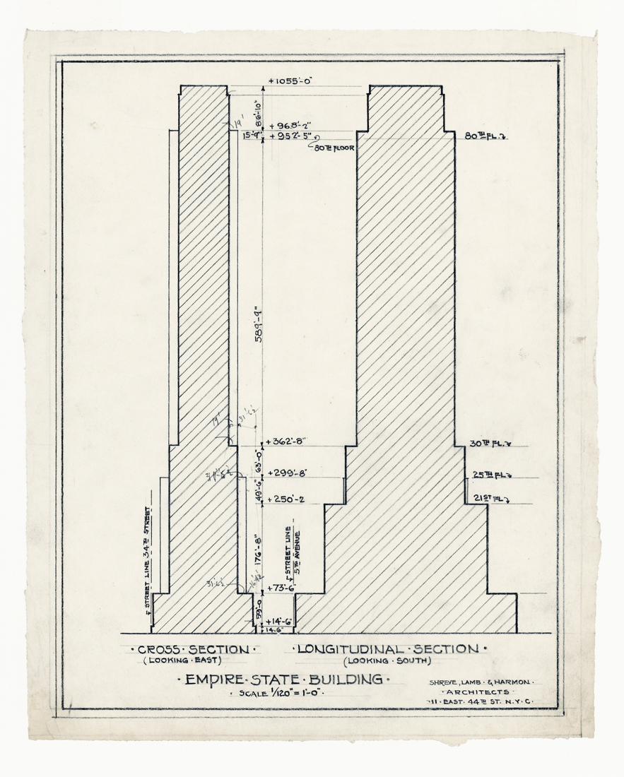 Rare architectural drawings for sale the empire state building cross and longitudinal sections malvernweather Choice Image