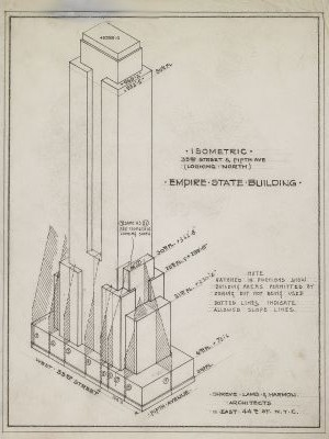Rare architectural drawings for sale the empire state building isometric 33rd street and 5th ave looking north malvernweather Choice Image